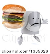 Clipart Of A 3d Unhappy Coffee Mug Character Facing Slightly Right Jumping And Holding A Double Cheeseburger Royalty Free Illustration