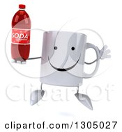 Clipart Of A 3d Happy Coffee Mug Character Jumping And Holding A Soda Bottle Royalty Free Illustration