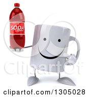 Clipart Of A 3d Happy Coffee Mug Character Holding And Pointing To A Soda Bottle Royalty Free Illustration
