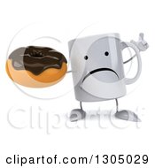 Clipart Of A 3d Happy Coffee Mug Character Holding Up A Finger And A Chocolate Frosted Donut Royalty Free Illustration