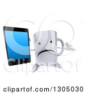 Clipart Of A 3d Unhappy Coffee Mug Character Gesturing Call Me And Holding Up A Smart Cell Phone Royalty Free Illustration