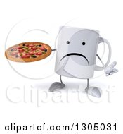 Clipart Of A 3d Unhappy Coffee Mug Character Shrugging And Holding A Pizza Royalty Free Illustration