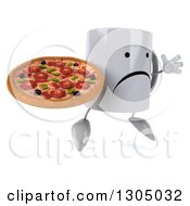 Clipart Of A 3d Unhappy Coffee Mug Character Facing Slightly Right Jumping And Holding A Pizza Royalty Free Illustration