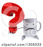 Clipart Of A 3d Unhappy Coffee Mug Character Holding Up A Question Mark Royalty Free Illustration