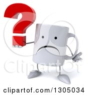 Clipart Of A 3d Unhappy Coffee Mug Character Shrugging And Holding A Question Mark Royalty Free Illustration