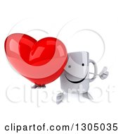 Clipart Of A 3d Happy Coffee Mug Character Holding Up A Thumb And A Heart Royalty Free Illustration