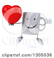 Clipart Of A 3d Happy Coffee Mug Character Jumping And Holding A Heart Royalty Free Illustration