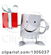 Clipart Of A 3d Happy Coffee Mug Character Giving A Thumb Up And Holding A Gift Royalty Free Illustration