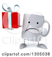 Clipart Of A 3d Unhappy Coffee Mug Character Holding And Pointing To A Gift Royalty Free Illustration