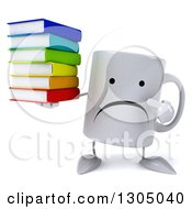 Clipart Of A 3d Unhappy Coffee Mug Character Holding And Pointing To A Stack Of Books Royalty Free Illustration