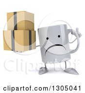 Clipart Of A 3d Unhappy Coffee Mug Character Holding Up A Finger And Boxes Royalty Free Illustration