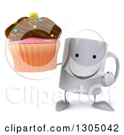 Clipart Of A 3d Happy Coffee Mug Character Holding And Pointing To A Chocolate Frosted Cupcake Royalty Free Illustration
