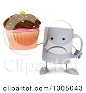 Clipart Of A 3d Unhappy Coffee Mug Character Holding A Chocolate Frosted Cupcake Royalty Free Illustration