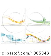 Clipart Of Dynamic Mesh Wave Backgrounds Royalty Free Vector Illustration