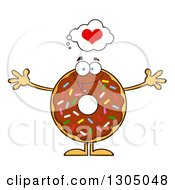 Clipart Of A Cartoon Loving Round Chocolate Sprinkled Donut Character Wanting A Hug Royalty Free Vector Illustration by Hit Toon