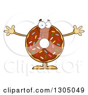 Clipart Of A Cartoon Happy Round Chocolate Sprinkled Donut Character Welcoming Royalty Free Vector Illustration by Hit Toon