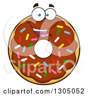 Clipart Of A Cartoon Happy Round Chocolate Sprinkled Donut Character Royalty Free Vector Illustration by Hit Toon