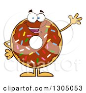 Clipart Of A Cartoon Happy Round Chocolate Sprinkled Donut Character Waving Royalty Free Vector Illustration by Hit Toon