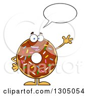 Clipart Of A Cartoon Happy Round Chocolate Sprinkled Donut Character Talking And Waving Royalty Free Vector Illustration by Hit Toon