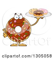 Clipart Of A Cartoon Happy Round Chocolate Sprinkled Donut Character Holding A Plate Of Doughnuts Royalty Free Vector Illustration by Hit Toon