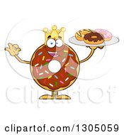 Clipart Of A Cartoon Happy Round Chocolate Sprinkled Donut King Character Holding A Plate Of Doughnuts Royalty Free Vector Illustration by Hit Toon