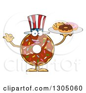 Clipart Of A Cartoon Happy American Round Chocolate Sprinkled Donut Character Holding A Plate Of Doughnuts Royalty Free Vector Illustration by Hit Toon