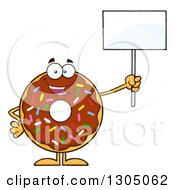 Clipart Of A Cartoon Happy Round Chocolate Sprinkled Donut Character Holding Up A Blank Sign Royalty Free Vector Illustration by Hit Toon