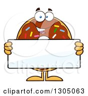 Clipart Of A Cartoon Happy Round Chocolate Sprinkled Donut Character Holding A Blank Sign Royalty Free Vector Illustration by Hit Toon