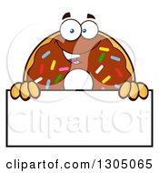 Clipart Of A Cartoon Happy Round Chocolate Sprinkled Donut Character Over A Blank Sign Royalty Free Vector Illustration by Hit Toon