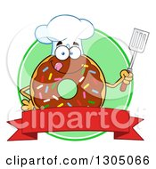 Clipart Of A Cartoon Happy Round Chocolate Sprinkled Donut Chef Character Holding A Spatula Over A Blank Banner And Green Circle Royalty Free Vector Illustration by Hit Toon