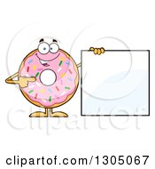Clipart Of A Cartoon Happy Round Pink Sprinkled Donut Character Pointing To A Blank Sign Royalty Free Vector Illustration by Hit Toon