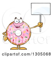 Clipart Of A Cartoon Happy Round Pink Sprinkled Donut Character Holding Up A Blank Sign Royalty Free Vector Illustration by Hit Toon