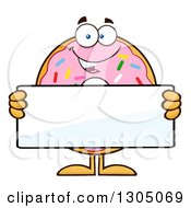 Clipart Of A Cartoon Happy Round Pink Sprinkled Donut Character Holding A Blank Sign Royalty Free Vector Illustration by Hit Toon