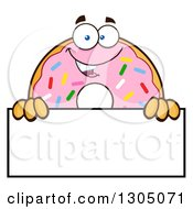 Clipart Of A Cartoon Happy Round Pink Sprinkled Donut Character Over A Blank Sign Royalty Free Vector Illustration by Hit Toon