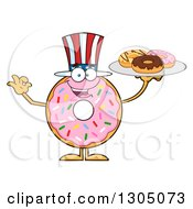 Clipart Of A Cartoon Happy Round Pink American Sprinkled Donut Character Holding A Plate Of Doughnuts Royalty Free Vector Illustration by Hit Toon