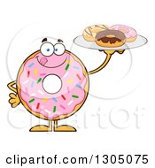Clipart Of A Cartoon Happy Round Pink Sprinkled Donut Character Licking His Lips And Holding A Plate Of Doughnuts Royalty Free Vector Illustration by Hit Toon