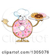 Clipart Of A Cartoon Happy Round Pink Sprinkled Donut Chef Character Holding A Plate Of Doughnuts Royalty Free Vector Illustration by Hit Toon