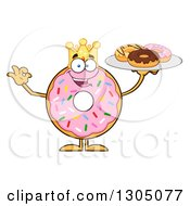 Clipart Of A Cartoon Happy Round Pink Sprinkled Donut King Character Holding A Plate Of Doughnuts Royalty Free Vector Illustration by Hit Toon