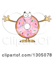 Clipart Of A Cartoon Happy Round Pink Sprinkled Donut Character Welcoming Royalty Free Vector Illustration by Hit Toon