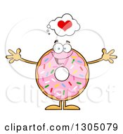 Clipart Of A Cartoon Loving Round Pink Sprinkled Donut Character Wanting A Hug Royalty Free Vector Illustration by Hit Toon