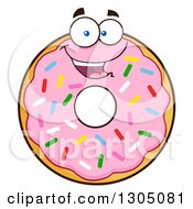 Clipart Of A Cartoon Happy Round Pink Sprinkled Donut Character Royalty Free Vector Illustration by Hit Toon