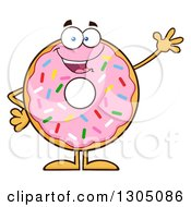 Clipart Of A Cartoon Happy Round Pink Sprinkled Donut Character Waving Royalty Free Vector Illustration by Hit Toon