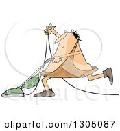 Clipart Of A Cartoon Chubby Caveman Vacuuming Royalty Free Vector Illustration