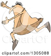 Clipart Of A Cartoon Chubby Caveman Falling Forward And Tripping Royalty Free Vector Illustration