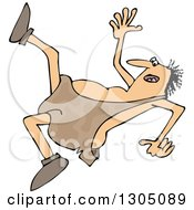 Clipart Of A Cartoon Chubby Caveman Falling Backwards Royalty Free Vector Illustration