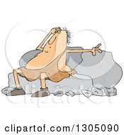 Clipart Of A Cartoon Tired Chubby Caveman Resting Against Boulders Royalty Free Vector Illustration by Dennis Cox