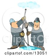 Couple Of Men Using Pressure Washers To Clean Ceilings And Floors Clipart Illustration