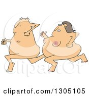 Clipart Of A Cartoon Streaking Nude White Woman Chasing A Man Royalty Free Vector Illustration by djart