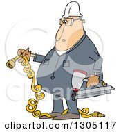 Clipart Of A Cartoon Chubby White Male Construction Worker Holding A Nailer And Plug Royalty Free Vector Illustration