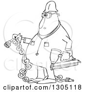 Cartoon Black And White Chubby Male Construction Worker Holding A Nailer And Plug